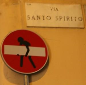 Wrong Way sign Milan