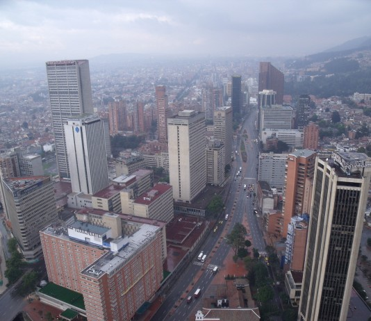 View from the observatory at the Torre Colpatria in downtown Bogota, Colombia.