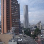 Downtown Bogota Colombia with Torre Colpatria in center.