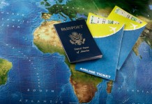 Passport & World Map & Airline Tickets
