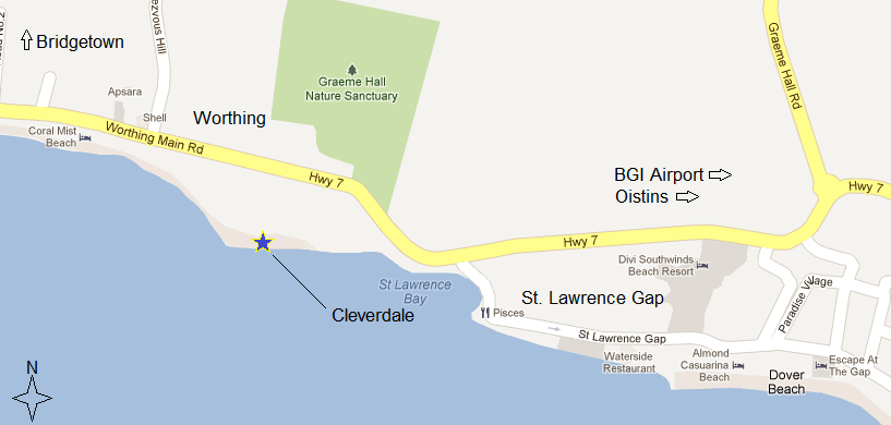 Cleverdale Map Worthing Barbados