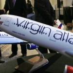Aircraft models are seen following a news conference to announce the sale of Virgin Atlantic airline to Delta Air Lines, in New York