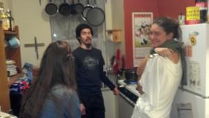 Bob, Jenn, and Anne making dinner.