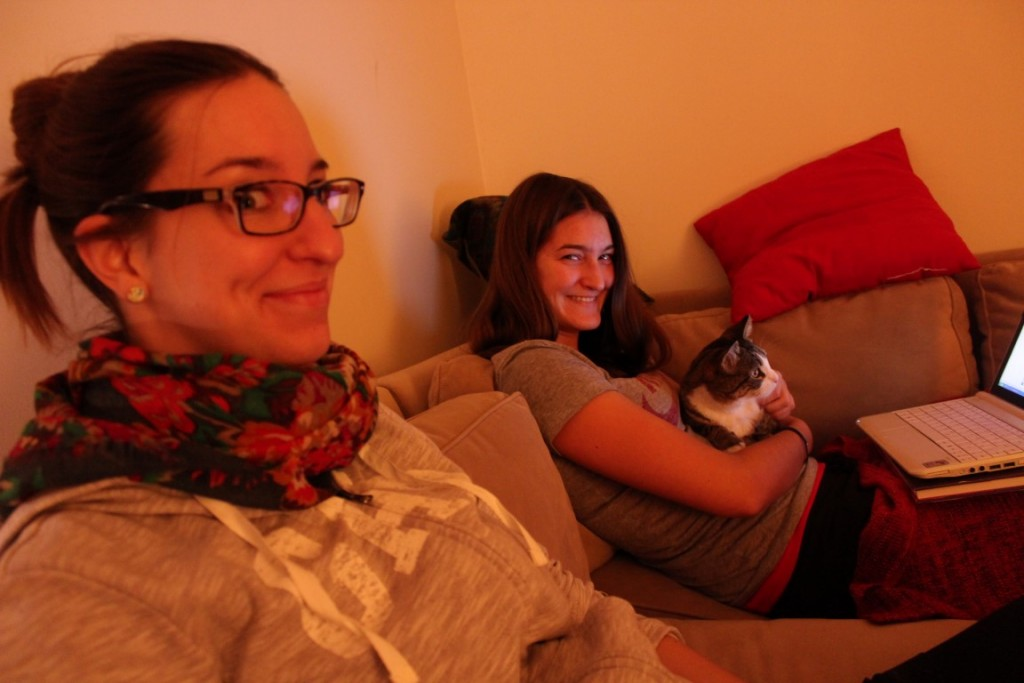 The Rogosch sisters, Anne and Jenn, with my cat Duniya.