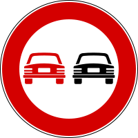 Italian Road Sign - No Overtaking