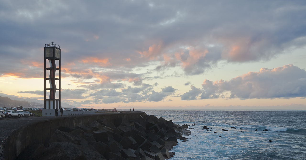 Lighthouse at Puerto de la Cruz, Tenerife, Canary Islands, Spain. Taken by Wikimedia Commons user Diego Delso.