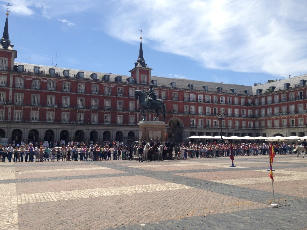 Plaza Mayor Madrid Mounted Police Demonstrations
