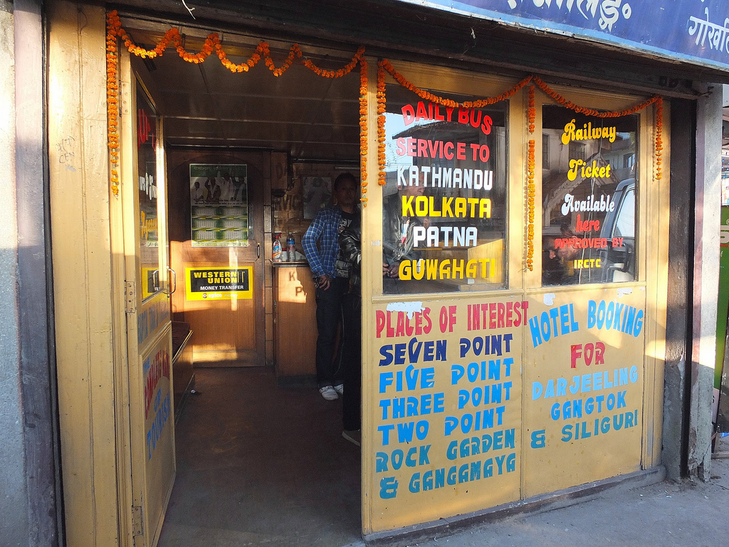 Travel Agency, Darjeeling, India. Taken by Phil Parsons via Flickr (CC).