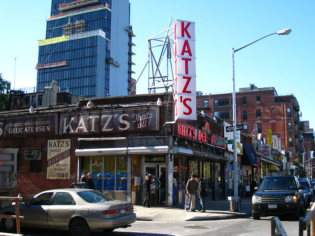 Katz's Deli in Lower East Side, New York City. Taken via Wikimedia Commons from Flickr user John.