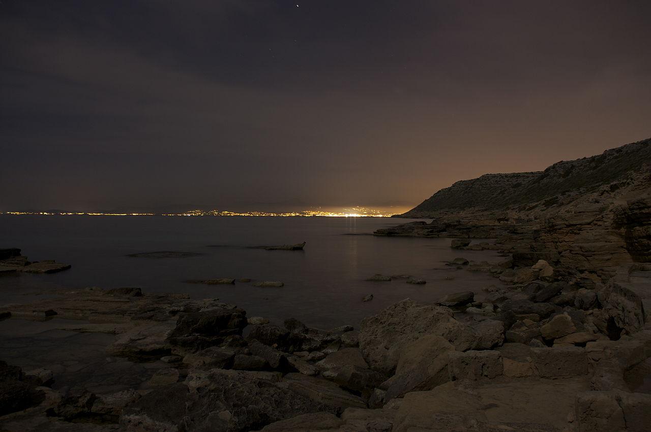 Mallorca at night. Taken by Wikimedia Commons user Andrés Nieto Porras.