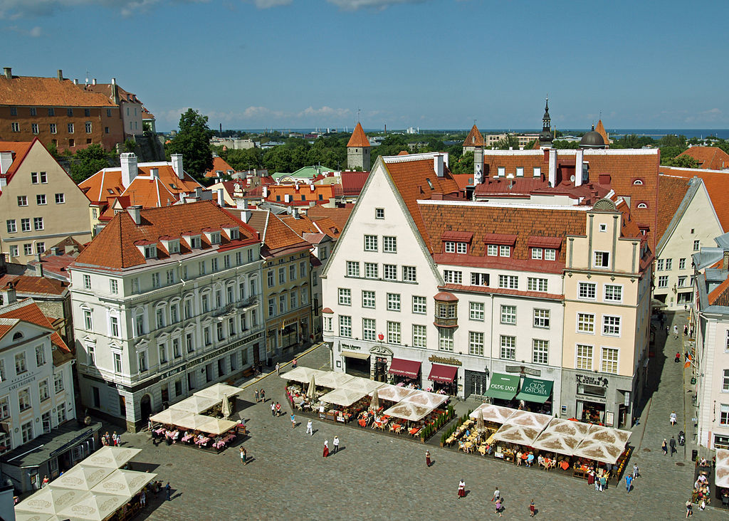 The Town Hall Square (Raekoja plats) in Tallinn, Estonia. Taken by Wikimedia Commons user kallerna.