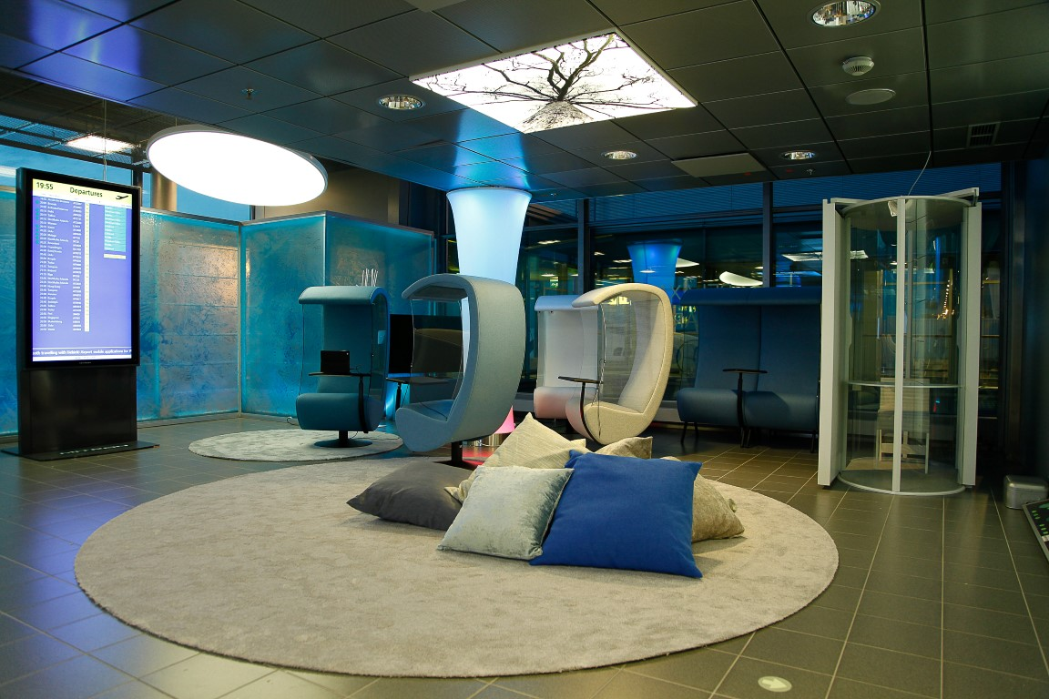 """Silence Chairs"" in Helsinki-Vantaa Airport Relaxation Area."