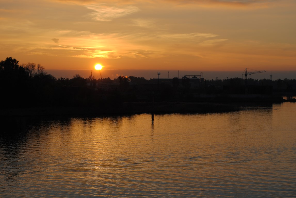 Sunset on Daugava River in Riga, Latvia
