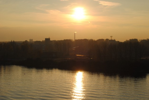 Sun Setting On Riga's Daugava River, Latvia
