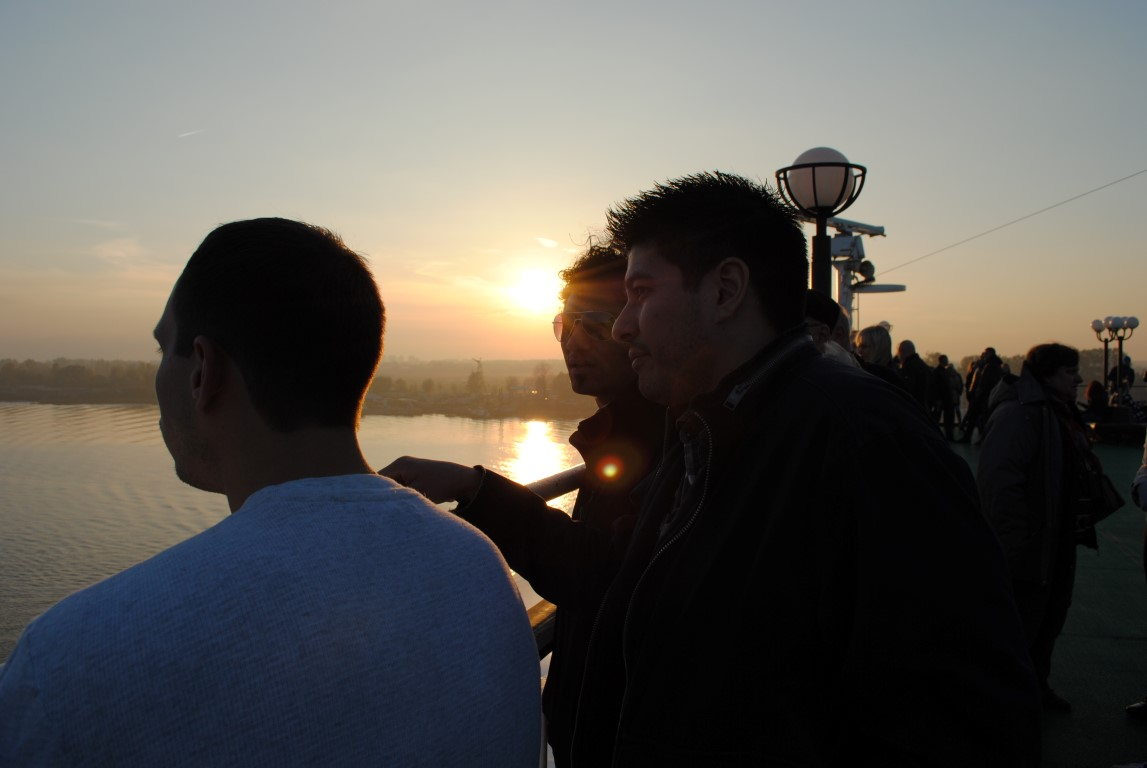 Sunset on Daugava River in Riga, Latvia