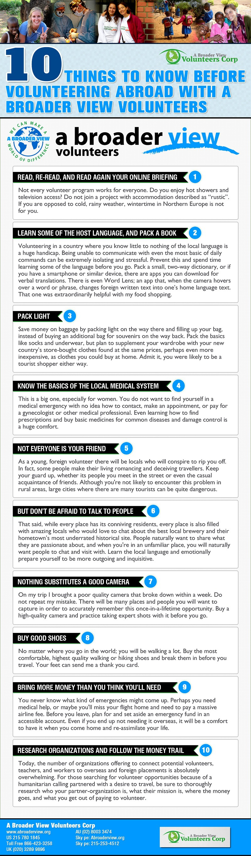 Things to Know Before Volunteering Abroad Infographic